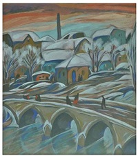 snowy cityview with bridge by béla kádár