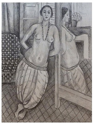 odalisque with striped trousers, reflected in the mirror / odalisque a la culotte rayée, reflétée dans la glace by henri matisse