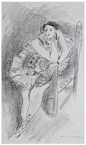 dancer on a wooden armchair / danseuse au fauteuil en bois by henri matisse
