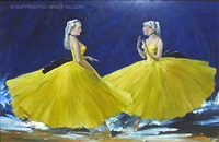 dancers in yellow by aldo affortunati