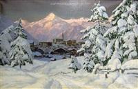snow village blick auf kitzbühel im winter by alois arnegger
