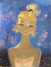 girl on blue with stars by igor pantuhoff
