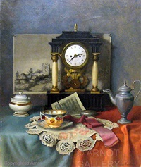 clock with china and lace by franz krischke
