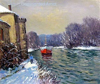river boat in winter by maurice lemaître