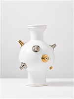sculptural vase with gold and platin #5 by michael geertsen