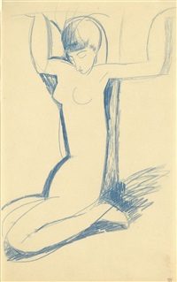 kneeling blue caryatid by amedeo modigliani