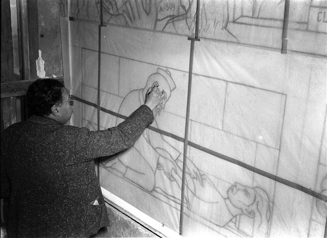 diego rivera pintando el mural de historia de la cardiologia, ciudad de mèxico, méxico, 1943 - 44 by leo matiz