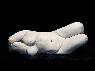 bodies: elizabeth with elbows hiding face by nadav kander