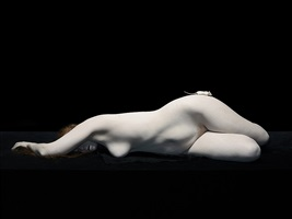 bodies: isley lying with white mouse on hip by nadav kander