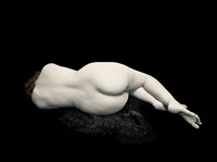 bodies: audrey lying away on black lace by nadav kander