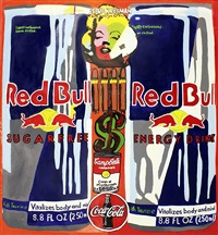 double red bull collage by steve kaufman