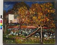 view of a garden (borisella, artist's house in cagnes sur mer) by boris dmitrievich grigoriev