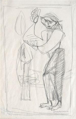 figure with raised hands by jankel adler