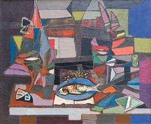 composition with fish by jankel adler