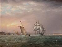 american ship in the tagus river off belem tower by james edward buttersworth