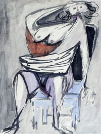 woman on blue chair by jankel adler