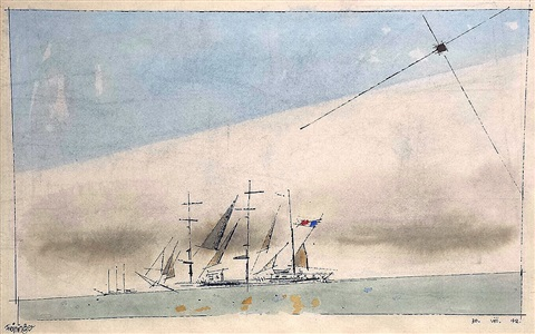 untitled (french barque under staysail) by lyonel feininger