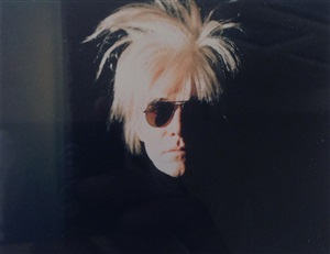 self-portrait in fright wig by andy warhol