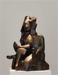 marin avec une femme sur les genoux by otto gutfreund