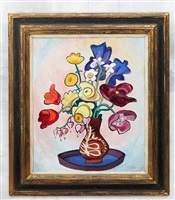 bunter strauß in brauner vase by gabriele münter