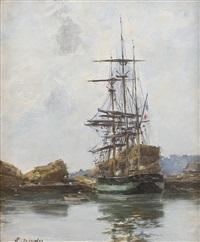 deauville, le trois-mâts by eugène boudin