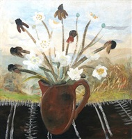 flowers in a brown jug by winifred nicholson