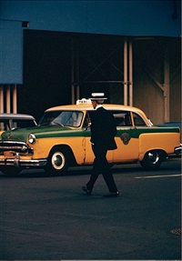 man in straw hat by saul leiter