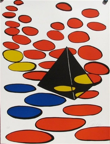 black pyramid with circles by alexander calder