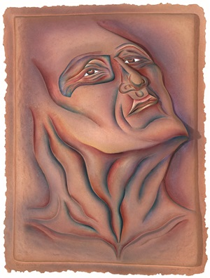 woe man with blue eye #9 by judy chicago