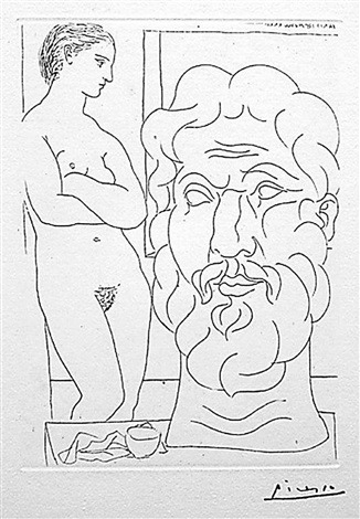 marie-thérèse regardant un autoportrait sculpté du sculpteur, from the vollard suite by pablo picasso