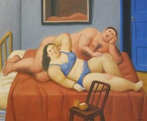 lovers in bed by fernando botero