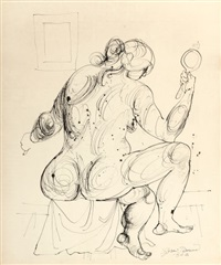 seated female nude by byron browne