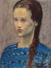 girl in blue by raphael soyer