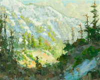 early spring afternoon, light on mount baldy by peter adams