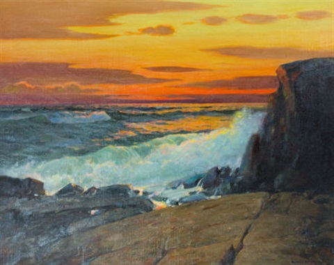 crashing waves at sunset by alfred richard mitchell