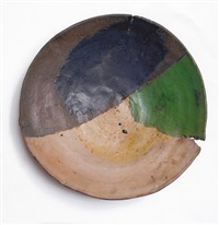 rare colored plate with black, blue, green, yellow, and raw clay by peter voulkos