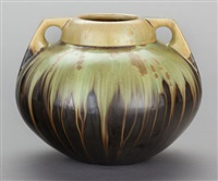 two handled vase by fulper pottery