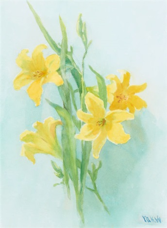 yellow lilies by marion kavanaugh wachtel