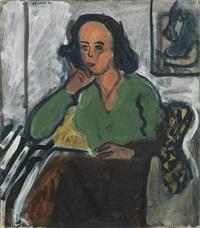 portrait of a woman in a green blouse by robert de niro, sr.