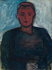 portrait of a young man with red face by robert de niro, sr.