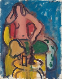 seated nude with green pants by robert de niro, sr.