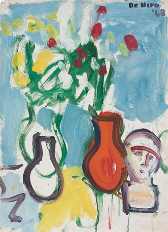 still life with three vases and bust by robert de niro, sr.