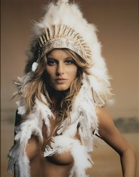 gisele with headdress by mark seliger