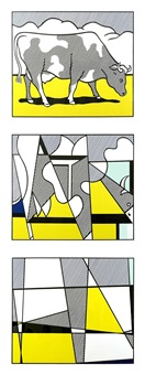 cow going abstract (3 pc. suite) by roy lichtenstein