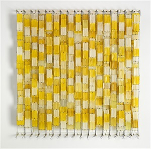 field of yellow blocks by jacob hashimoto