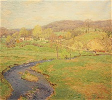 blue brook (a stream in vermont) by willard leroy metcalf