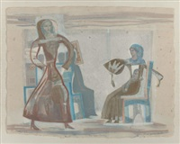 fashion show - monotype painting by françoise gilot