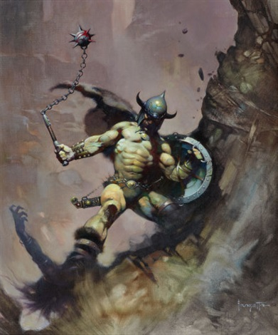 warrior with ball and chain flashing swords no1 paperback cover by frank frazetta