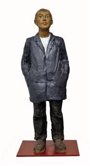 mann mit blauer jack by stephan balkenhol