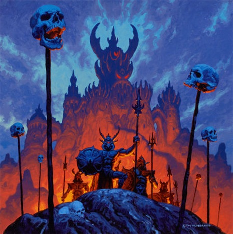 a firepit realms of wonder calendar illustration by tim hildebrandt